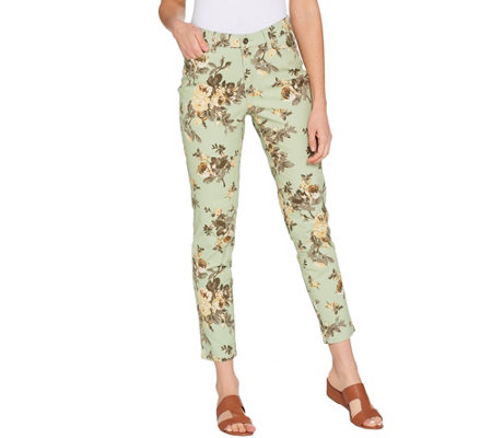 Studio by Denim & Co. Floral Print Stretch Twill Ankle Pants