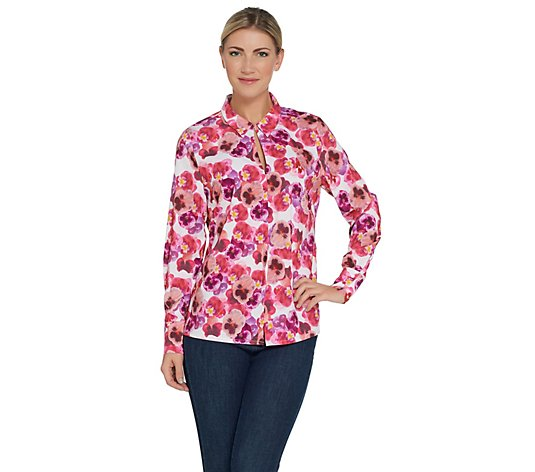 Kelly by Clinton Kelly Floral Printed Woven Shirt  w/ Slit Detail