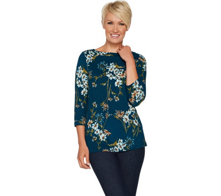 """As Is"" Susan Graver Brushed Printed Liquid Knit Bateau Neck Top"