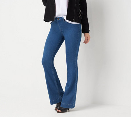 Laurie Felt Silky Denim Pull-On Flare Jeans