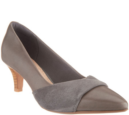 Clarks Leather and Nubuck Pointy Toe Pumps - Linvale Vena