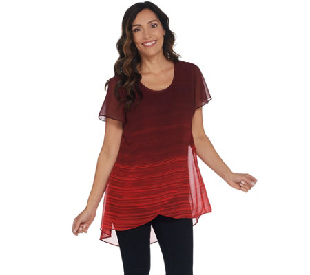 H by Halston Petite Ombre' Printed Chiffon Overlay Short Sleeve Tunic