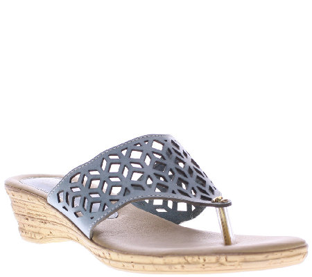 Spring Step Leather Thong Wedge Sandals - Amerena