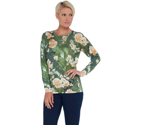 Quacker Factory Floral Printed Knit Pullover with Sequin Embellishment