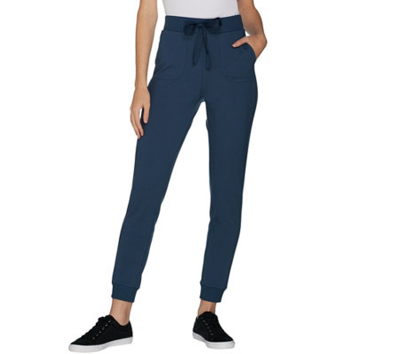 """As Is"" LOGO by Lori Goldstein Ponte Jogger Pant with Rib Details"