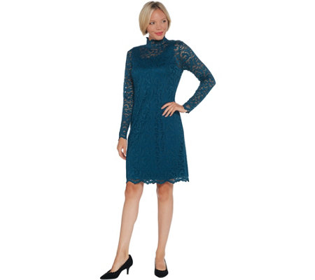 Isaac Mizrahi Live Regular Lace Mock Neck Knit Dress