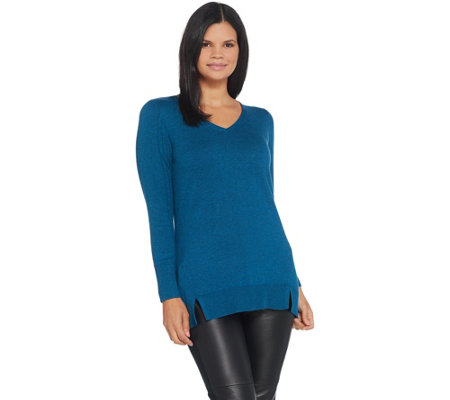 H by Halston V-Neck Long Sleeve Tunic Sweater