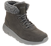 Skechers On-the-GO Lace-Up Suede Boots - City 2 - Frostie - A345465