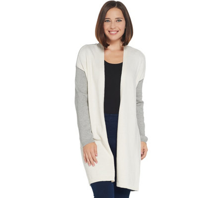 Vince Camuto Open Front Color Block Cardigan