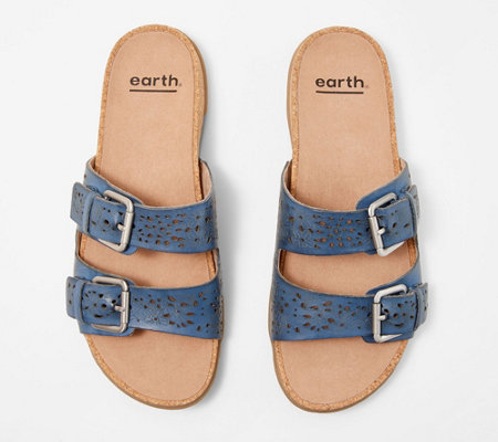 Earth Perforated Leather Slide Sandals- Sand Antigua