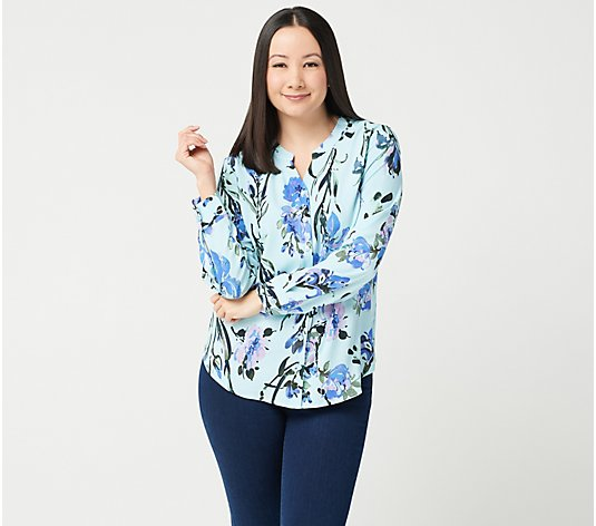 Denim & Co. Printed Watercolor Floral Stretch Crepe Blouse