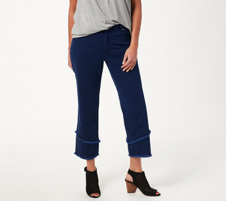Dennis Basso Stretch Twill Straight-Leg Crop Pants with Fringe