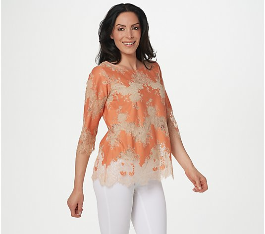 Linea by Louis Dell'Olio Inset Lace Top