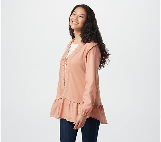 LOGO by Lori Goldstein Cotton Cardigan with Chiffon Smocking Detail