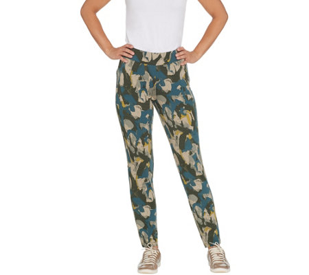 """As Is"" LOGO Lounge by Lori Goldstein Printed Terry Pull-On Pants"