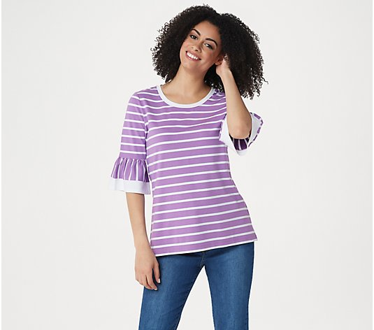 Isaac Mizrahi Live! Striped Knit Top with Border Ruffle Sleeves