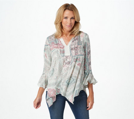 """As Is"" Haute Hippie Tribe 'Mirene' Print Handkerchief Top"