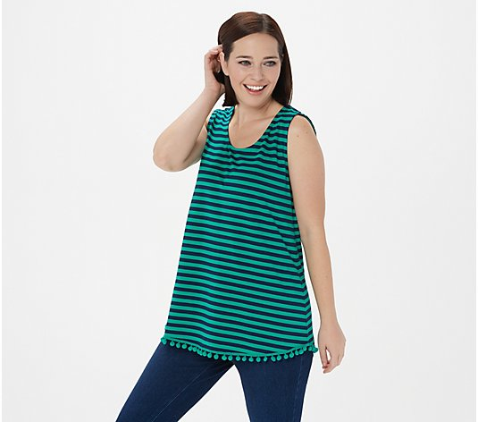Belle by Kim Gravel Striped Tunic Tank with Pom Pom Trim