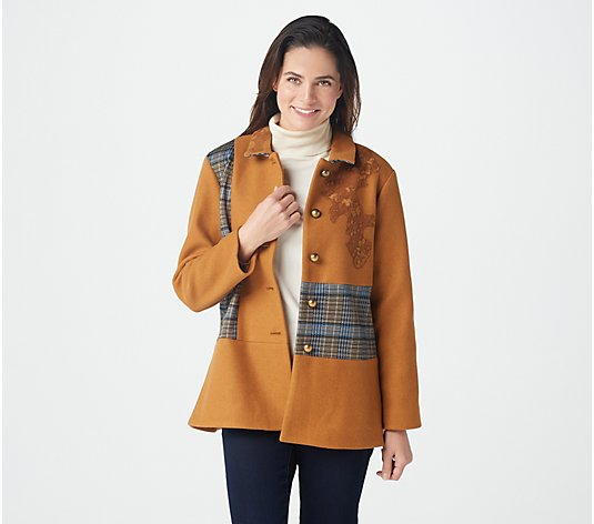 """As Is"" LOGO Lavish by Lori Goldstein Coat with Plaid Panels"