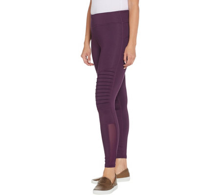 """As Is"" Susan Lucci Collection Reg. Moto Leggings w/ Mesh Detail"