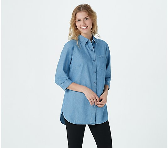 """As Is"" Joan Rivers Denim Shirt with Buttoned Yoke Detail"