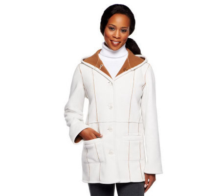 Susan Graver Bonded Fleece Reversible Bi-Color Hooded Coat