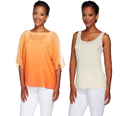 Susan Graver Artisan Ombre Sheer Dolman Sleeves Chiffon Top with Tank