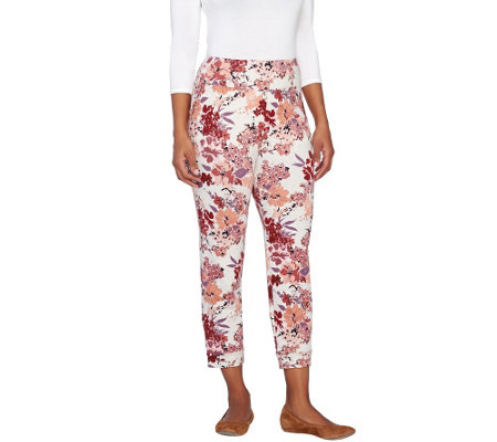 """As Is"" LOGO by Lori Goldstein Floral Print French Terry Crop Pants"