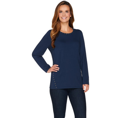 Denim & Co. Long Sleeve Round Neck Top with Stud Detail