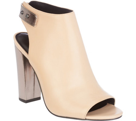 """As Is"" H by Halston Leather Peep-Toe Bootie withe Block Heel - Natalie"