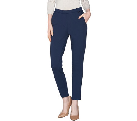 H by Halston Petite VIP Ponte Pull-On Ankle Pants w/ Seam Detail