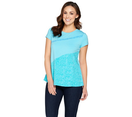 H by Halston Engineered Wave Print Color-Block T-shirt