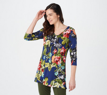 Attitudes by Renee Printed V-Neck Tunic with Pockets
