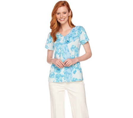 H by Halston Short Sleeve Floral Print Top w/ Chiffon Flounce Detail