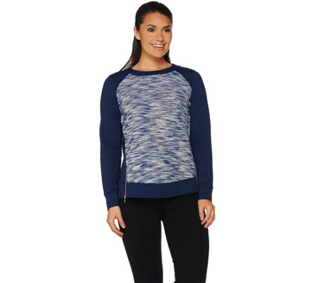 """As Is"" Susan Graver Weekend French Terry Top with Zipper Detail"