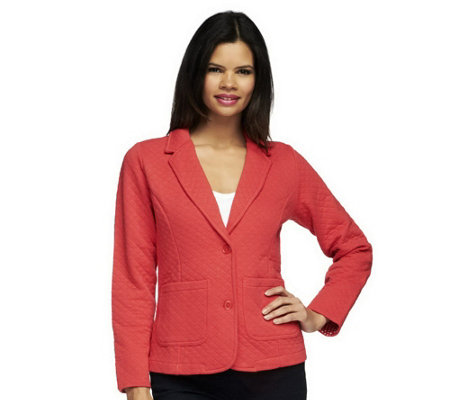 """As Is"" Isaac Mizrahi Live! Quilted Knit Blazer"