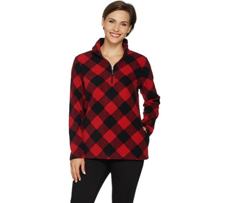 Denim & Co. Plaid Fleece Long Sleeve Half-Zip Pullover