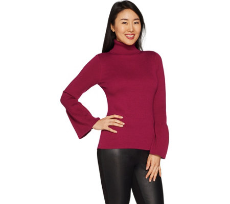 Joan Rivers Turtleneck Sweater with Tulip Sleeves