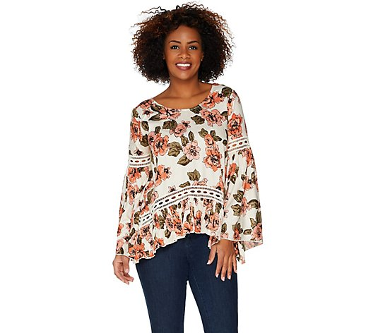 Laurie Felt Printed Blouse with Crochet Details