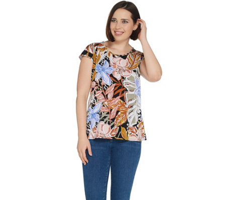 Susan Graver Printed Liquid Knit Extended Sleeve Top
