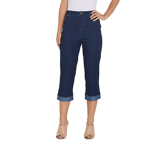 Joan Rivers Petite Stretch Denim Cropped Pants With Cuff