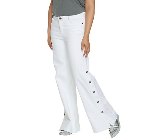 Peace Love World Petite White Denim Button Side Pants