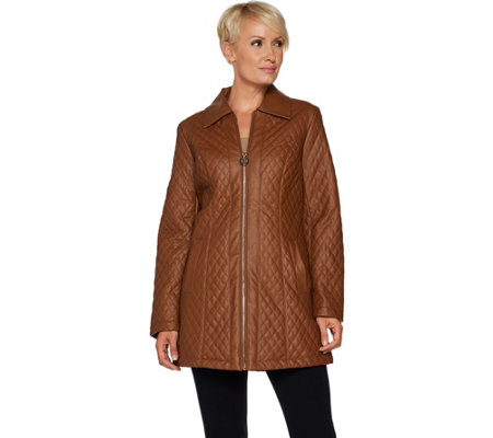 """As Is"" Dennis Basso Diamond Quilted Faux Leather Zip Front Jacket"