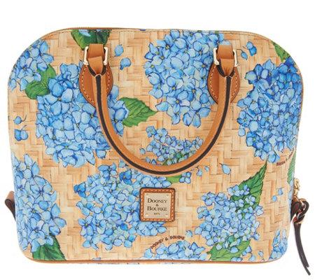 5f90645da020 Dooney   Bourke Hydrangea Basket Weave Zip Zip Satchel Handbag — QVC.com