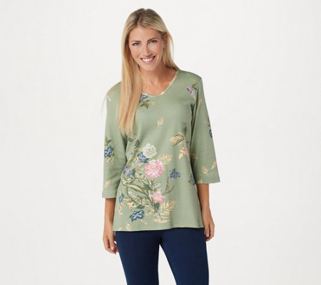 Quacker Factory Floral Printed 3/4-Sleeve Knit Top with Rhinestones
