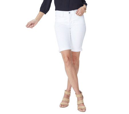 NYDJ Briella 5-Pocket Shorts w/ Cuff - Optic White