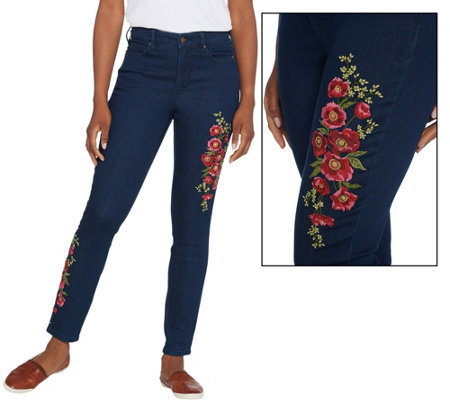 """As Is"" Martha Stewart Petite Embroidered 5-Pocket Ankle Jeans"