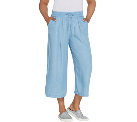 """As Is"" LOGO by Lori Goldstein Chambray Wide Leg Cropped Pant"