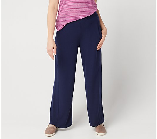Lisa Rinna Collection Wide-Leg Brushed Hacci Pant