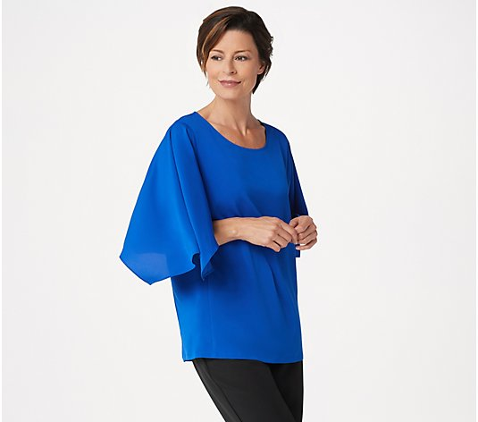 Dennis Basso Woven Scoop-Neck Top with Cape Sleeves